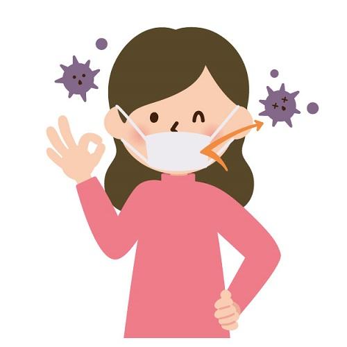 菌が入らないマスクをしている女性