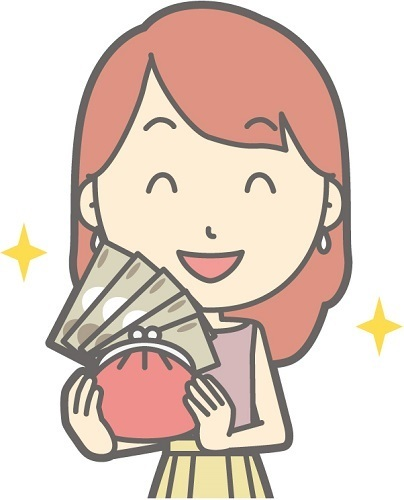 お金をたくさん持って喜んでいる女性