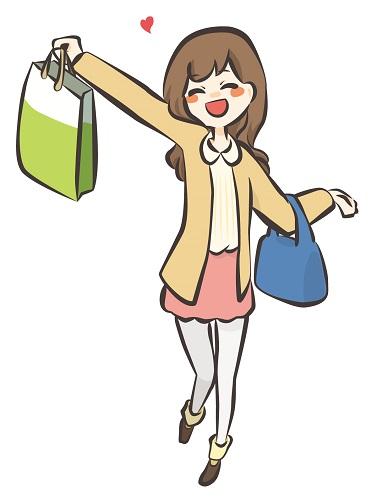 買い物をしてとても喜んでいる女子